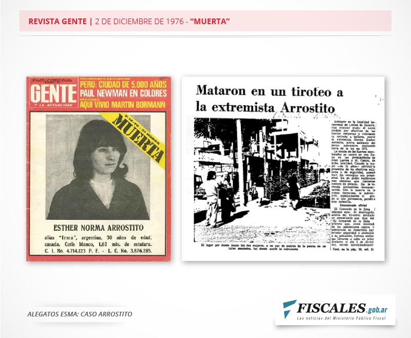 """Norma Arrostito permaneció dos años en el centro clandestino de detención ESMA. Los medios de comunicación informaron sobre un """"enfrentamiento"""""""