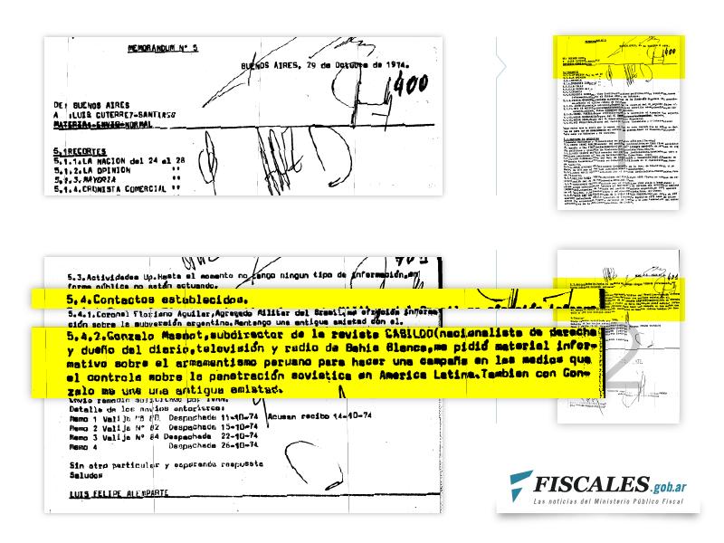 En el Memorándum 5, del 29 de octubre de 1974, Arancibia Clavel refiere a sus jefes de la DINA el pedido de información que le hizo Massot, con quien -dice- lo unía una vieja amistad.  - Presentación: Área Gráfica de la Dirección de Comunicación Institucional de la PGN.