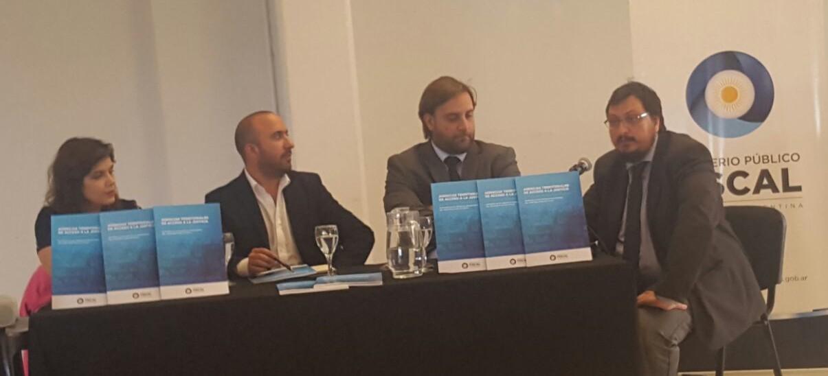 Defensora general adjunta Gisela Guana Wirtz; Emiliano Gareca; fiscal federal de distrito, Federico Carniel, y Diego Vigay. -