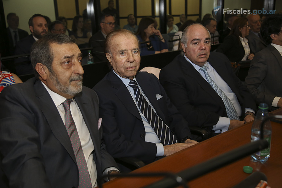 El ex presidente Carlos Menem fue uno de los 12 acusados, de un total de 13, que estuvieron presentes en la audiencia.  - Foto: Matías Pellón/ Ministerio Público Fiscal/www.fiscales.gob.ar